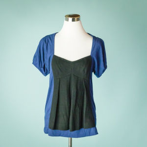Marc By Marc Jacobs S Blue Black Wool Panel Top